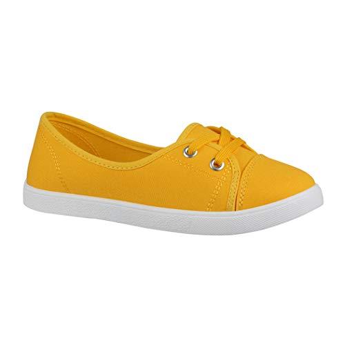 Elara Damen Ballerinas Sneaker Schnürer Chunkyrayan CL33311 Yellow-39