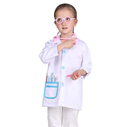 Familus Doctor Costume for Kids Doctor Role Play Coat Doctor Dress Up for Boys Girls 7-8T