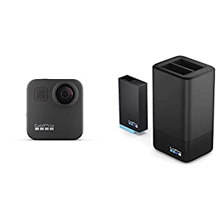 GoPro Max Waterproof 360 Digital Action Camera with Unbreakable Stabilisation, Touch Screen and Voice Control, Live HD Streaming with Dual Battery Charger + Battery (Official Accessory), Black (B0823QHMP4) | Amazon price tracker / tracking, Amazon price history charts, Amazon price watches, Amazon price drop alerts