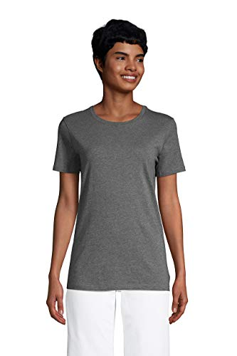 Lands' End Women s SS Relaxed Supima Crew Neck T Shirt Charcoal Heather Tall Large