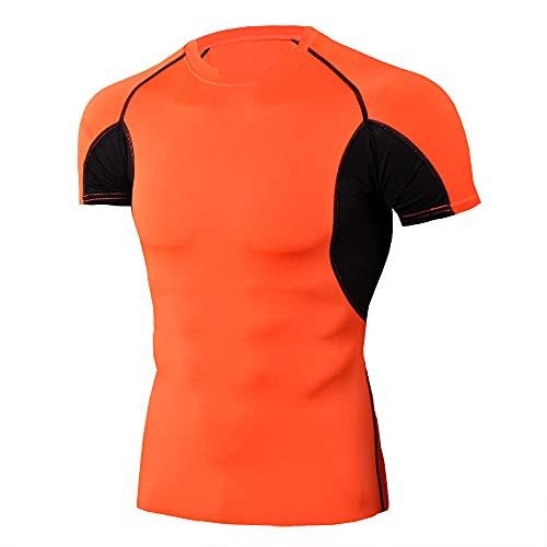 Correr Shirt Hombre Verano Cuello Redondo Slim Fit Hombre Muscular Shirt Empalme Estampado Manga Corta Deportiva Camisa Básica Funcional Shirt Causal Surf Gym Compresión Shirt J-Orange XL