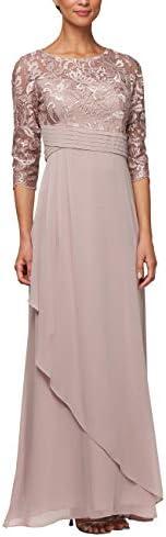 Alex Evenings Women s Long Lace Top Empire Waist Dress Rose 12P product image