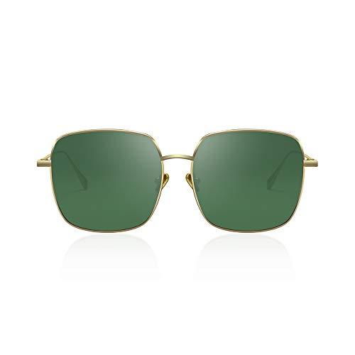 AVAWAY Oversize Occhiali da Sole Donna Polarizzati UV400 Lente, Cornice Metallica, A1