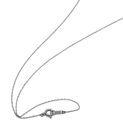 [ルビイ] ホワイトゴールド K18 ロング小豆 チェーン ネックレス 幅0.7mm 長さ60cm