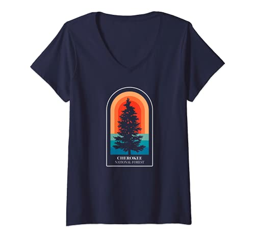 Womens Retro Cherokee National Forest Tennessee Hiking V-Neck T-Shirt