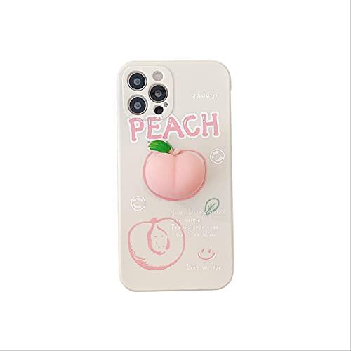 Aliviar el estrés Fundas de teléfono Kawaii Cute Fruit Pink Peach para iPhone 11 12 Pro XS MAX X XR 6 7 8 Plus SE2020 Cubierta Trasera Suave Coque para iPhone SE2020 A