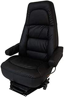 Bostrom Wide Ride Low-Profile Swivel High Back Passenger Seat With Armrests - Black Ultra-Leather