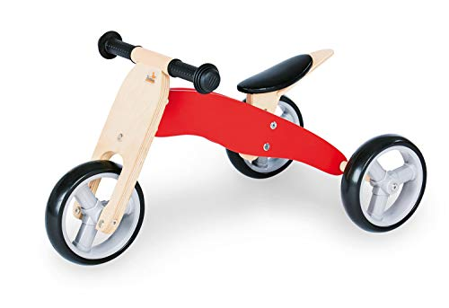 Pinolino Mini-Tricycle Charlie, en Bois, Convertible 4 Voies, Selle 6 Positions Réglable en Hauteur, pour Enfants à Partir de 1,5 ans, Rouge/Naturel