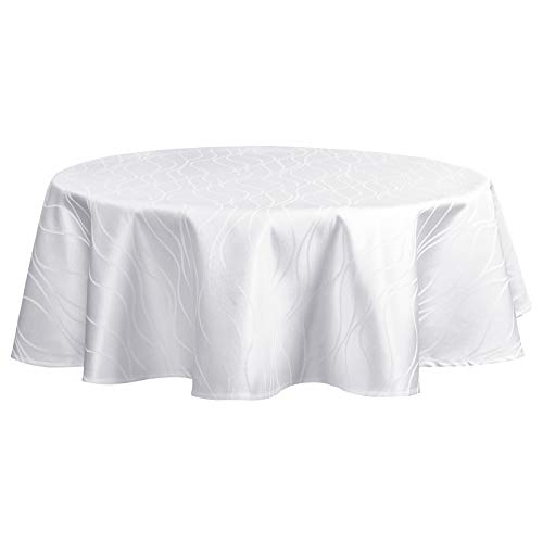 EUGAD Tischdecke Damast Streifen Wellen Design mit Saum, Tafeldecke Abwaschbar Bügelfrei, Eckig Rund Größe und Farbe wählbar, Rund 160 cm Weiß
