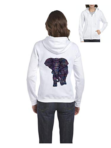 Mom`s Favorite Elephant Lover`s Gift Amazing Elephant Women's Full-Zip Hooded (SW) White