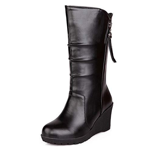 CUTEHEELS Women Mid-Calf Wedge Boots Black