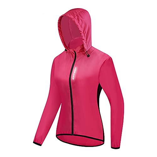 WOSAWE Damen Windjacke mit Kapuze, Leicht Atmungsaktiv Fahrradjacke für Radfahren, Laufen, Wandern, Bergsteigen (Rose L)