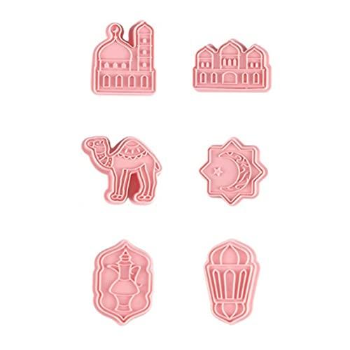 Molde de galletas, 6Muslim Eid Mubarak Ramadán Molde de galletas Molde de extrusión de fondant de galleta de azúcar de glaseado tridimensional de plástico