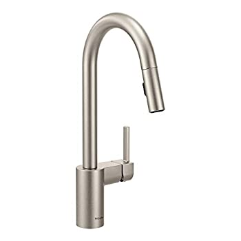 Moen 7565SRS Align One-Handle Modern Kitchen Pulldown Faucet with Reflex and Power Clean Spray Technology Spot Resist Stainless