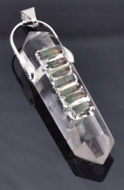Crystal Double Turmated 7 Chakra Tourmaline Pendulum of Clear Communication