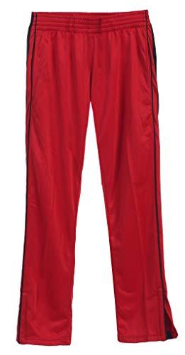 Gioberti Boys Track Running Sport Athletic Pants, Elastic Waist, Zip Bottom, Red, Size 14