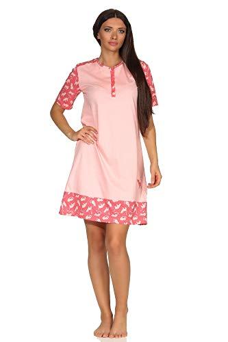 NORMANN-Wäschefabrik Niedliches Damen Kurzarm Nachthemd mit süssen Katzen als Design und Knopfleiste am Hals, Farbe:rosa, Größe2:48/50