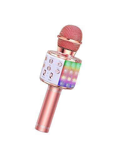 Roneberg El micrófono karaoke inalámbrico 2020 con retroiluminación se puede conectar a un televisor o a un teléfono, el tiempo de trabajo es de 6 a 8 horas.