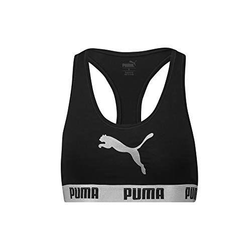 PUMA Damen Racer Back Bra with CAT Logo 1P E-COM Sport-BH, Schwarz (Black), 34