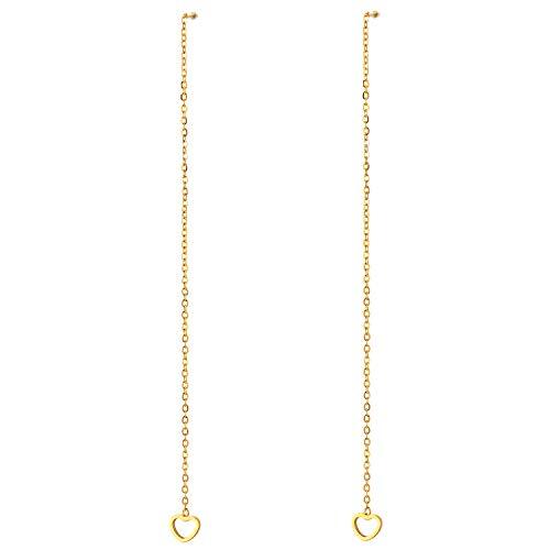 2 Color Oro Acero Inoxidable Pendientes con Extra Largo Cadena Colgantes Abierto Corazón, Mujer