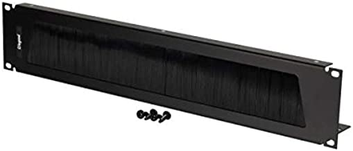 C2G 14600 2U Cable Pass-Through Panel with Brush Strip, TAA Compliant, Black (Made in The USA)