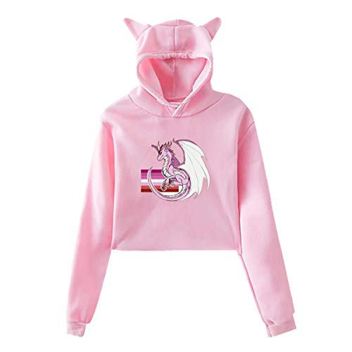 LGBTQ Lesbian Gay Pride Flag Dragon Hoodies Short Cropped Crop Tops Sweater Hooded Sweatshirts T Shirt Pink