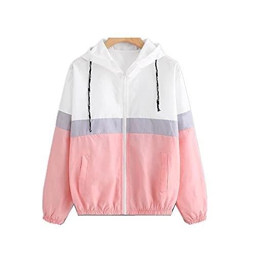 Color de contraste deportes casual chaqueta cortavientos con capucha patchwork mujer