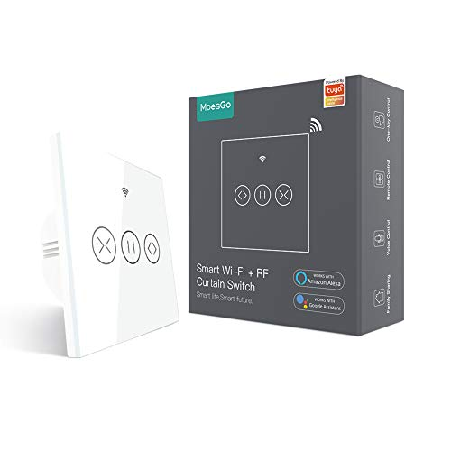 MoesGo WiFi RF433 Interruptor de Persianas, Panel táctil inteligente Interruptor para cortinas, persianas enrollables y estores, Compatible con Smart Life/Tuya, Alexa y Google Home Blanco