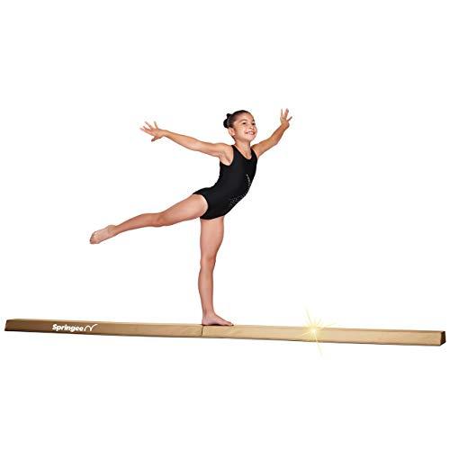 Springee 9ft Balance Beam - Extra Firm - Vinyl Folding Gymnastics Beam for Home - Gold