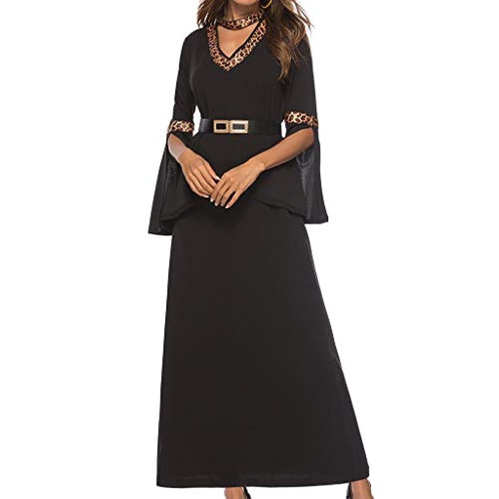 Lefthigh Leopard Print Half Sleeve Loose Dress, Women's Vintage V-Neck Elegant Evening Party Dress