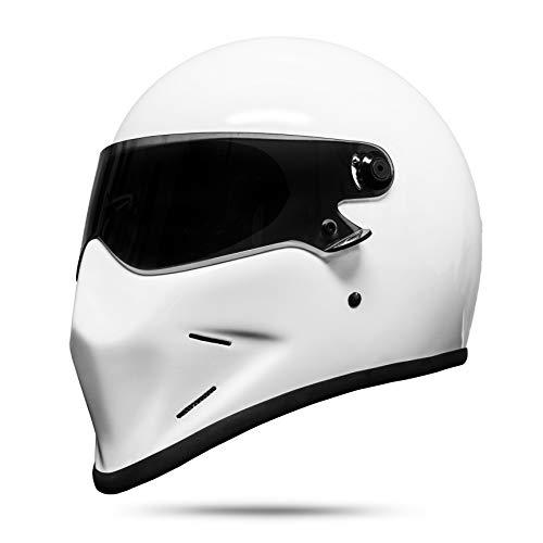 ATO Dark Motorradhelm Helm Integralhelm Schutzhelm Schwarz Matt Weiß S M L XL (L)