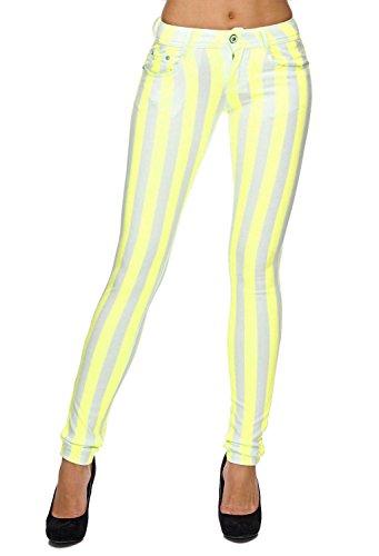 EGOMAXX Damen Hose Gestreifte Röhre Denim Jeans Treggings in Pastell, Farben:Gelb, Größe:36