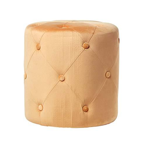 Homescapes Samt Pouf runder Sitzhocker gesteppter Velvet Polsterhocker mit Samtbezug, einsetzbar als...