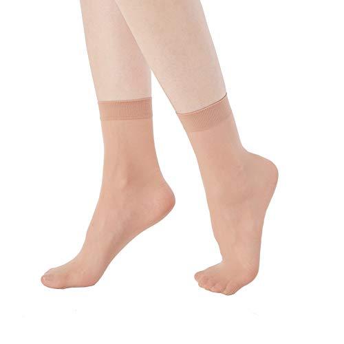 MANZI Damen 12 Paar Schwarz /& Nude Kn/öchel Nylon Socken mit Komfort-B/ündchen f/ür Workout /& Casual