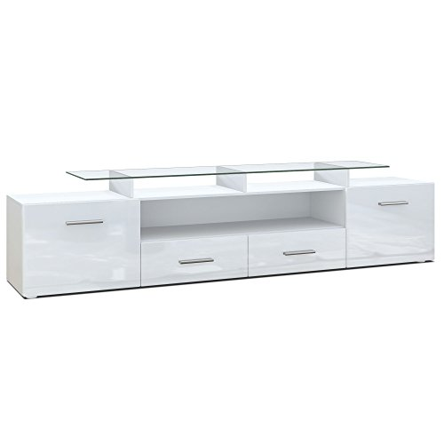 Vladon TV Board Lowboard Almada V2, Korpus in Weiß matt/Front in Weiß Hochglanz
