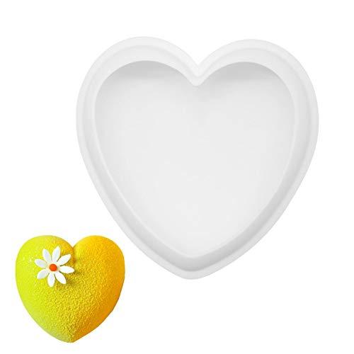 KANKOO Molde De Silicona Molde Corazon Bandeja de Silicona para Hornear Magdalenas Cakesicle moldes Jalea Molde Moldes de corazón para Bombones White,8 Inches