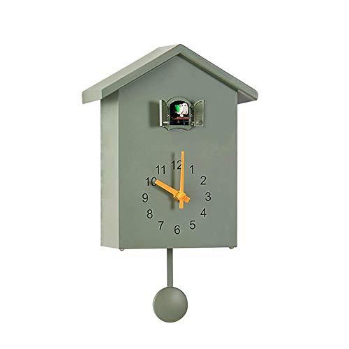 Modern Minimalist Design Cuckoo Wall Clock 8x3.6x10 Inch Green Cute Bird Home Decoration