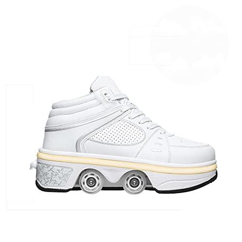 Zapatillas De Patinaje De Rodillos LED Actualizados Cuatro Ruedas Parpadeando Patines Luminosos 7 Colores Cambio, Hombres Y Mujeres Niños Zapatillas Al Aire Libre Entrenadores,White-EU38 / UK 4.5