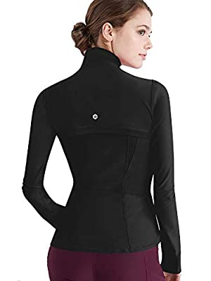 Lock and Love LL QJC3008 Women's Running Shirt Full Zip Workout Track Jacket with Thumb Holes XL Black