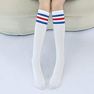 Socks High Knee Socks Stripes Cotton Sports School Skate Long Socks for Kids(White+Black Strip) Outdoor & Sports (Color : White+Blue-Red Strip)