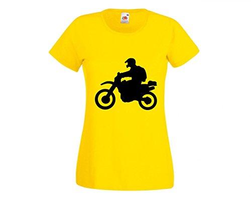 Druckerlebnis24 Camiseta Enduro Moto, Viajes, Todoterreno, Motocicleta, Turismo, Motocicleta para Hombre, Mujer, niños, 104 – 5 XL Amarillo 152 cm
