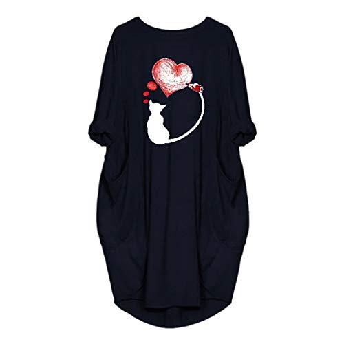 VEMOW Damenmode Tasche Lose Kleid Damen Rundhalsausschnitt beiläufige Tägliche Lange Tops Kleid Plus Größe(Z2-Dunkelblau, 44 DE/M CN)