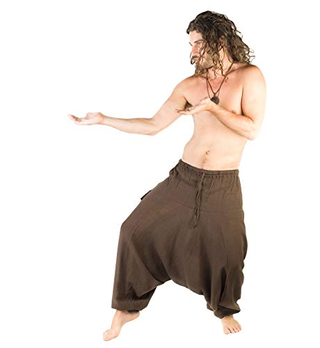 AJJAYA Pantalon Mens Brown Main Aladdin Ashtanga Yoga Harem Alibaba Pantalons Afghani