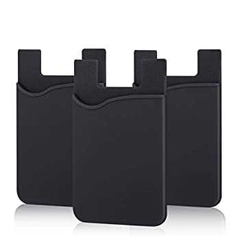 Adhesive Phone Wallet Pofesun [3 Pack] Ultra Thin Stick-on Silicone Credit Card Holder Sticker Adhesive Cell Phone Wallet Compatible for iPhone Samsung Most Android Smart Phones Black