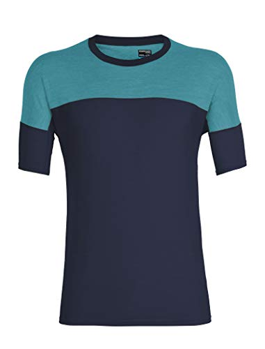 Icebreaker Kinetica SS Crewe Top Men, Panther/Blue Spruce Modèle M 2019 T-Shirt Manches Courtes
