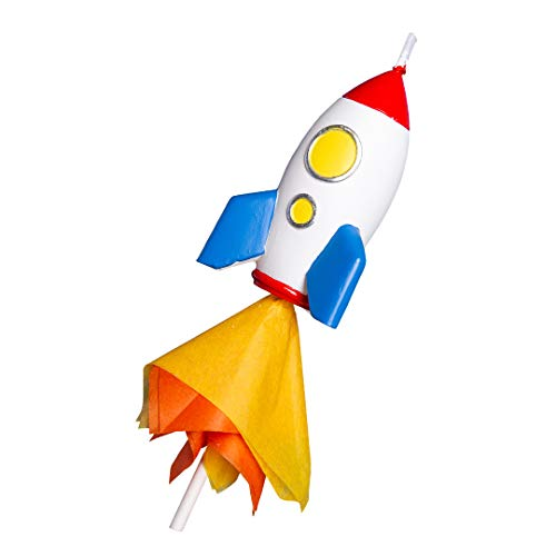 Spaceman Birthday Candle Outer Space Theme Rocket Candle for Birthday Party Childrens Day Baby Shower (Rocket)
