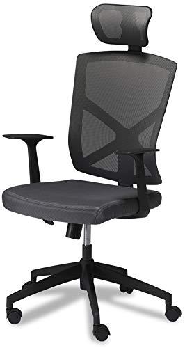 Ibbe Design Ergonomisch Grau Stoff Bürostuhl Basic mit Armlehne, Höhenverstellbar, Drehstuhl, Belastbar 150kg, L63xB65xH115 125 cm