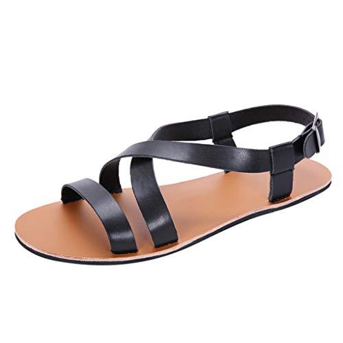 SuperSU-sandalen ►▷ Herren Römischen Leichte Freizeit Retro Anti Slip mit Schnalle Large Size Sandalen Hausschuhe,Herrenschuhe Römersandalen Strandschuhe Outdoorschuhe Turnschuhe