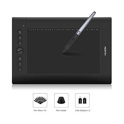 HUION H610PRO V2 Tableta gráfica - Pluma sin batería 8192 Niveles Tableta de Dibujo de presión con función de inclinación, 8 Teclas de presión Compatible con Windows y Mac OS