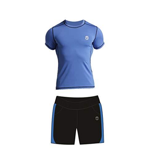 Fitness Blauw pak Heren Zomer Sneldrogende Panty Sport Hardlopen Kleding Gym Sport Pak Korte mouwen Trainingspak